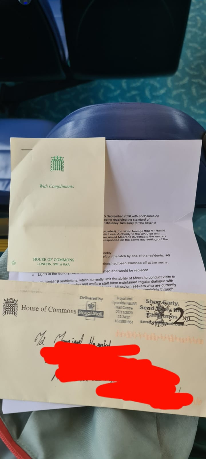 A letter from the House of Commons. The Success of an Asylum seeker Campaigner – MD