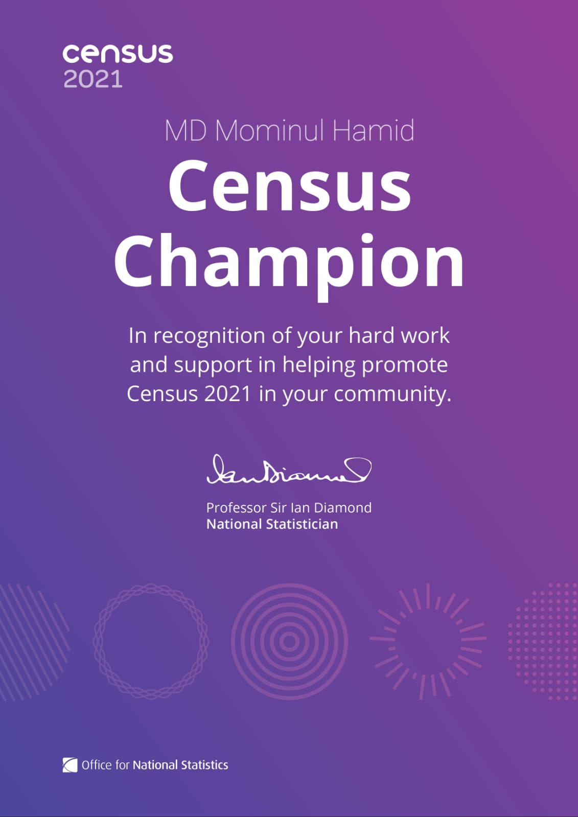 Read more about the article I got a Certificate of Census Champion 2021, UK