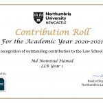 """I have got the """" Contribution Roll"""" – Honour Roll from My Law School"""