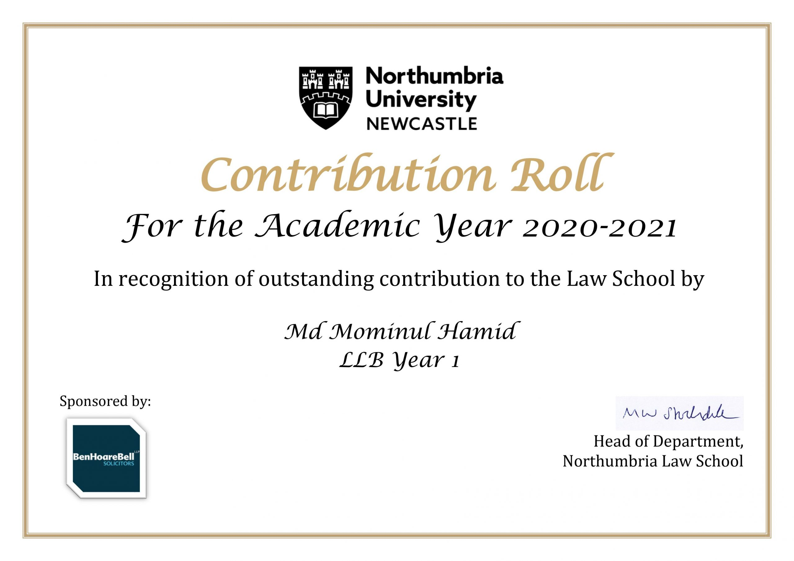 """Read more about the article I have got the """" Contribution Roll"""" – Honour Roll from My Law School"""